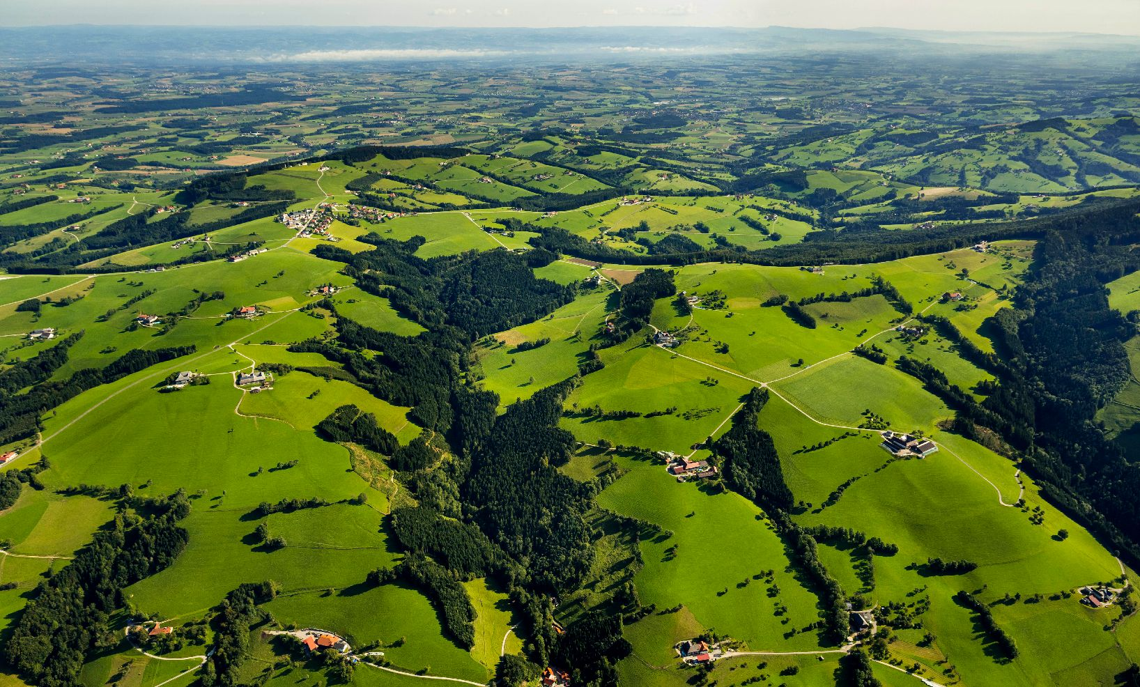 Birds-eye view of green hills