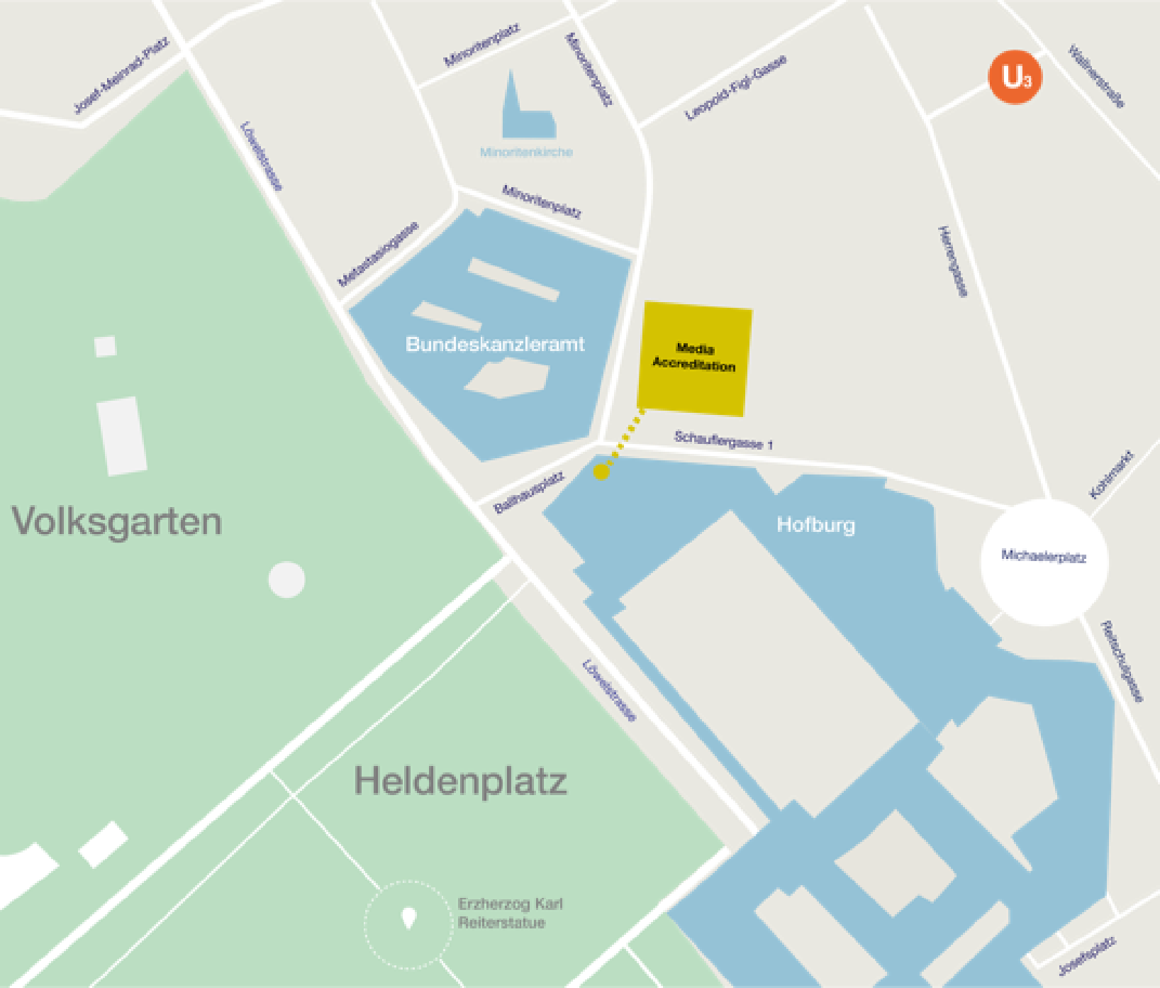 Access map to media accrediation, Schauflergasse