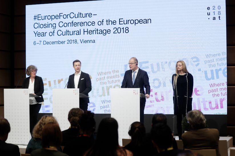 Press conference with Petra Kammerevert, Member of the European Parliament and Chair of the Committee on Culture and Education of the European Parliament; Gernot Blümel, Federal Minister for the EU, Arts, Culture and Media; Tibor Navracsics, European Commissioner for Education, Culture, Youth and Sport