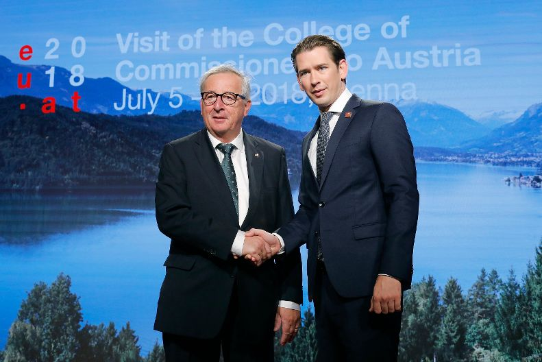 Sebastian Kurz, Austrian Chancellor and Jean-Claude Juncker, President of the EC