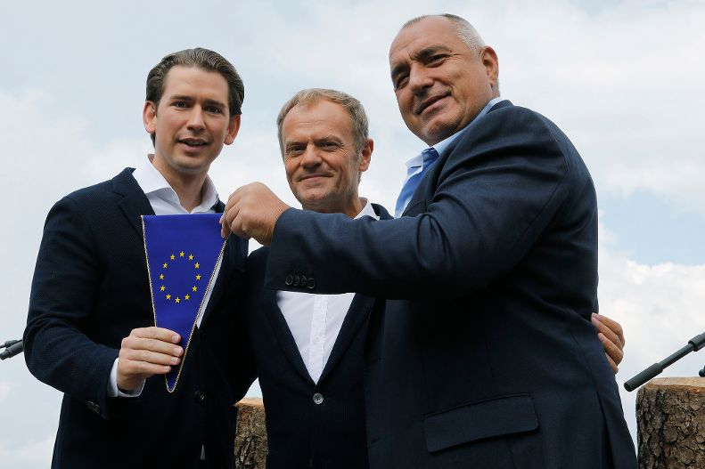 Symbolic handover of the presidency of the Council of the European Union from Bulgaria to Austria,  Federal Chancellor Kurz, European Council President Tusk and Prime Minister Borissov