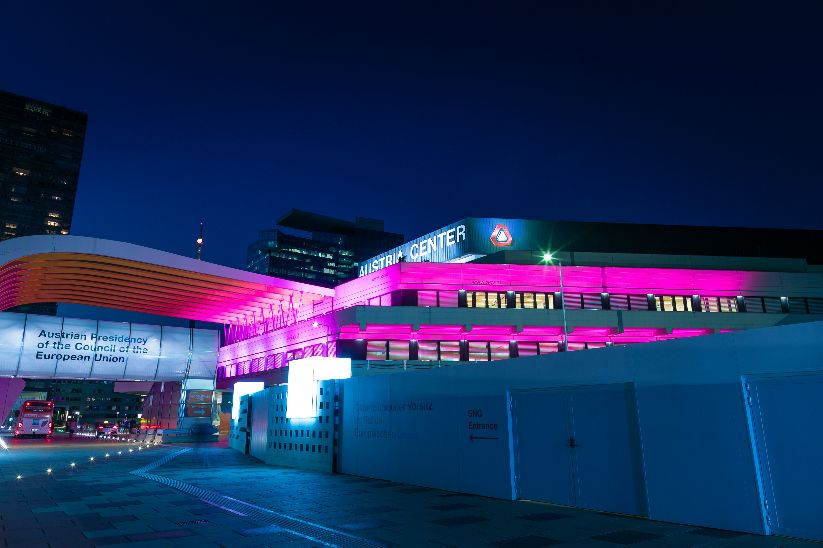 Austria Center Vienna in pink