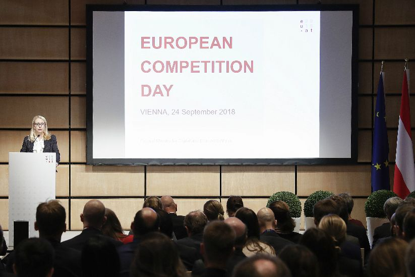 Federal Minister Schramböck at the European Competition Day